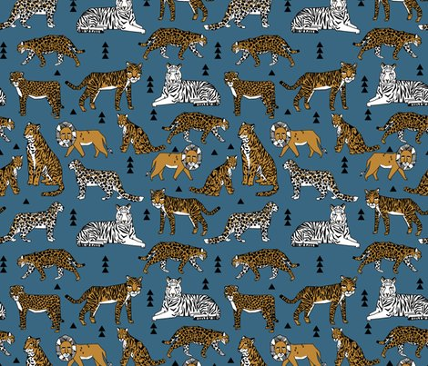 Lions and tigers blue and gold mustard kids boys for Animal print fabric for kids