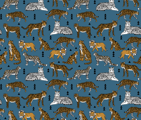 Lions and tigers blue and gold mustard kids boys for Children s animal print fabric