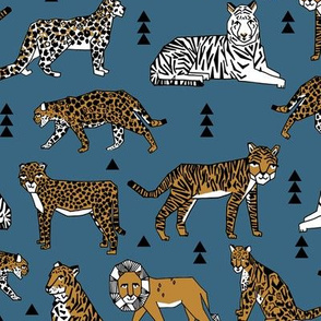 lions and tigers // blue and gold mustard kids boys nursery baby animal prints