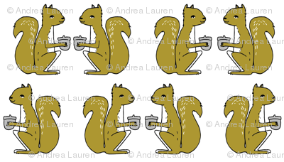 squirrel fabric // squirrels golden mustard brown gold kids woodland forest acorns fall autumn