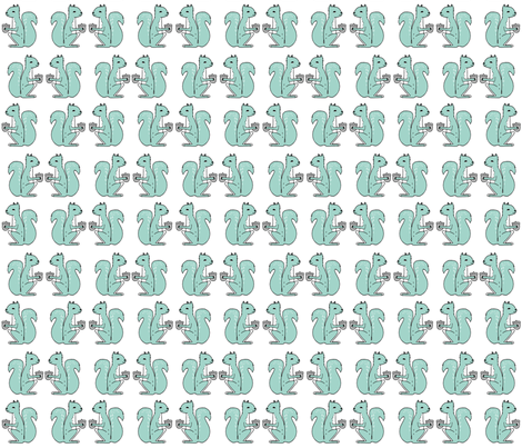 squirrel fabric // squirrels mint nursery baby woodland kids forest fabric by andrea_lauren on Spoonflower - custom fabric