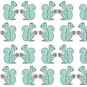 squirrel fabric // squirrels mint nursery baby woodland kids forest