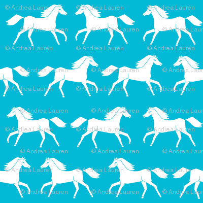 Horses turquoise kids girls horse pony cute girls room for Kids horse fabric