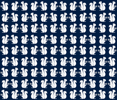 squirrel fabric // squirrels navy blue kids woodland nursery baby forest animals navy blue  fabric by andrea_lauren on Spoonflower - custom fabric