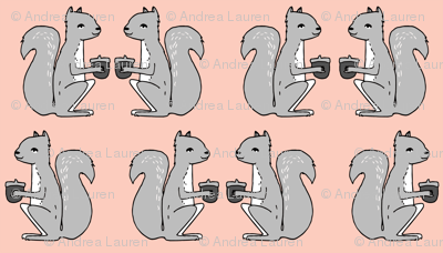 squirrel fabric // pink and grey squirrels kids nursery acorn acorns kids