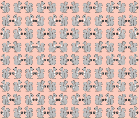 squirrel fabric // pink and grey squirrels kids nursery acorn acorns kids  fabric by andrea_lauren on Spoonflower - custom fabric