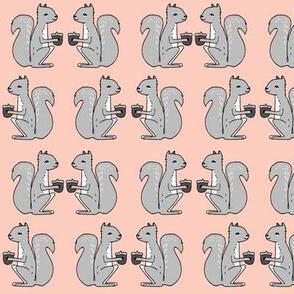 squirrel fabric // pink and grey squirrels kids nursery acorn acorns kids