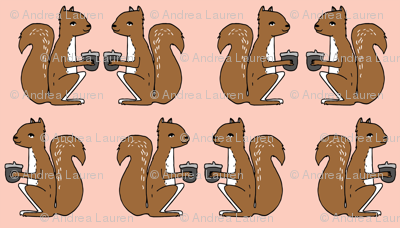 squirrels fabric // squirrels pink and brown kids nursery baby soft colors baby autumn fall acorns