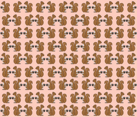 squirrels fabric // squirrels pink and brown kids nursery baby soft colors baby autumn fall acorns fabric by andrea_lauren on Spoonflower - custom fabric
