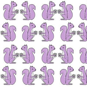 squirrels fabric // squirrels pastel purple lilac