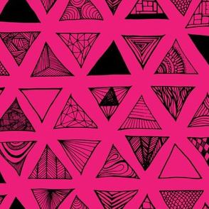 Triangle Doodles Hotpink