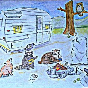 critter camping blue