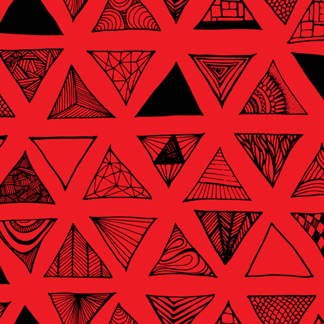 Triangle Doodles Red fabric by pennyroyal on Spoonflower - custom fabric