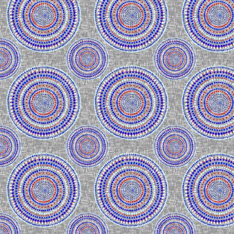 Mandala on silver + white tweedy linen weave by Su_G fabric by su_g on Spoonflower - custom fabric