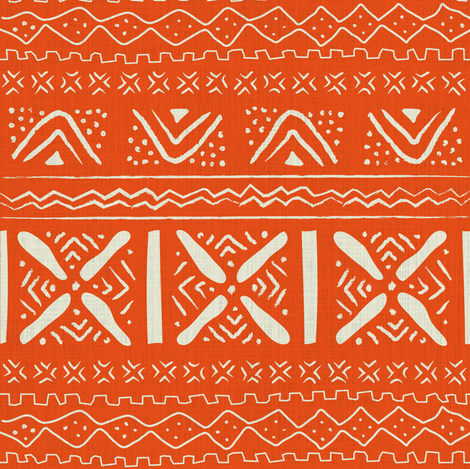 African roots in orange fabric by sansan on Spoonflower - custom fabric