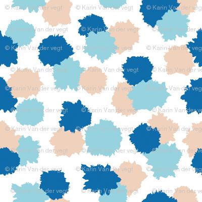 Paint splash dots in blue