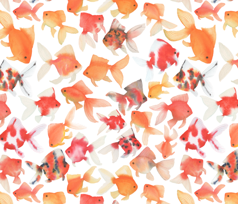Watercolor Goldfish fabric by mygiantstrawberry on Spoonflower - custom fabric