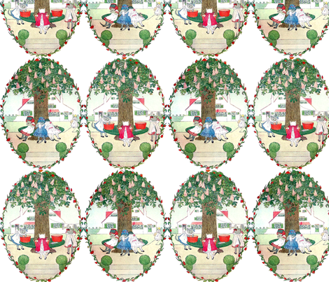 cats kittens crying mothers daughters trees flowers leaves laundry housework houses house chore vintage retro fabric by raveneve on Spoonflower - custom fabric