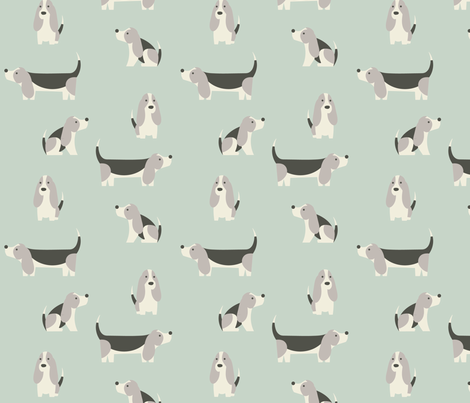 Basset Hound Spearmint fabric by phirefly_print on Spoonflower - custom fabric