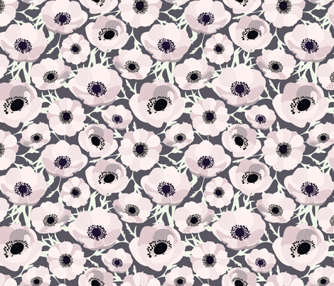 Blush Anemones fabric by gypseeart on Spoonflower - custom fabric