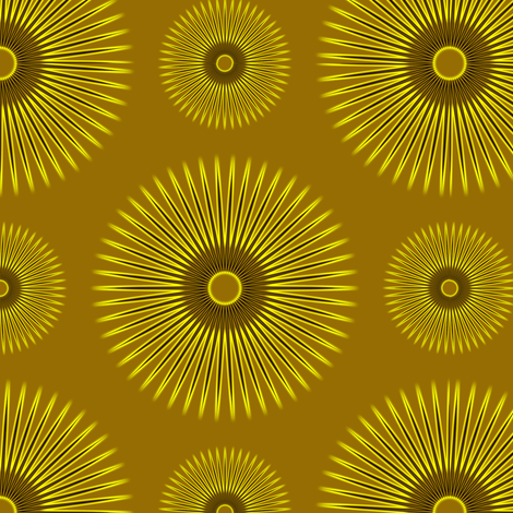 Yellow Flowers on Gold fabric by stradling_designs on Spoonflower - custom fabric