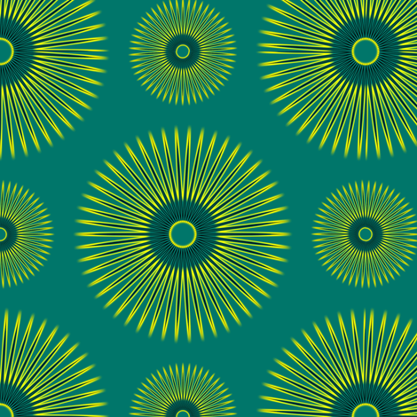 Yellow Flowers on Teal fabric by stradling_designs on Spoonflower - custom fabric