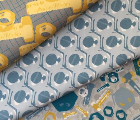 16-14B Construction Nuts & Bolts || Gold mustard yellow blue gray Retro Boy Male Masculine _Miss Chiff Designs