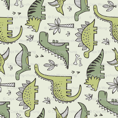 Dinosaurs in Green Rotated