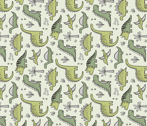 Dinosaurs in Green Rotated fabric by caja_design on Spoonflower - custom fabric