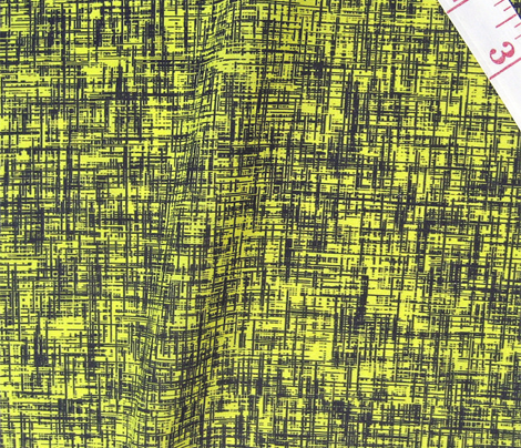 Black on acid yellow, mid-century linen-weave LARGE by Su_G