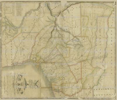 Republic of Texas Map by Stephen F Austin 1836