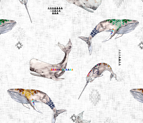 Whale Tribe  (LARGE) fabric by nouveau_bohemian on Spoonflower - custom fabric