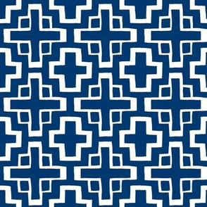 mosaic pool tile in nautical navy/white