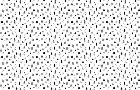 Tribal Trees - Black on White Scattered LARGE fabric by cavutoodesigns on Spoonflower - custom fabric