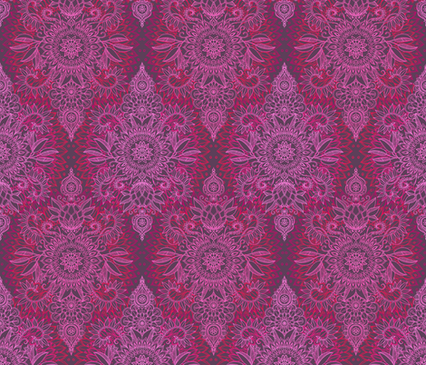 Deep Pink and Mauve Protea Doodle fabric by micklyn on Spoonflower - custom fabric