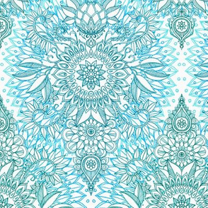 Turquoise and Green on White Protea Doodle