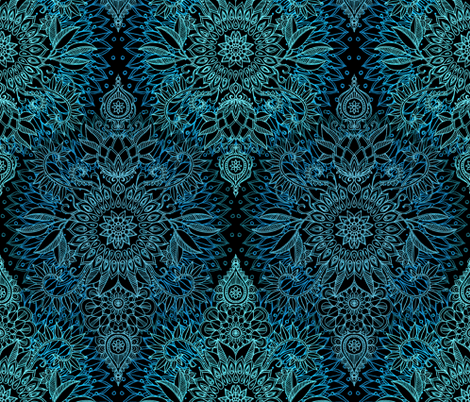 Midnight Teal and Aqua Protea Doodle fabric by micklyn on Spoonflower - custom fabric