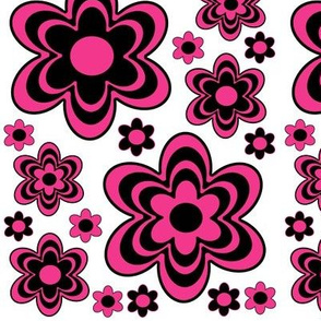 Hot Pink Floral Abstract Wild Flowers