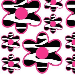 Hot Pink Zebra Animal Print Flowers