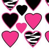 Hot Pink Zebra Animal Print Hearts
