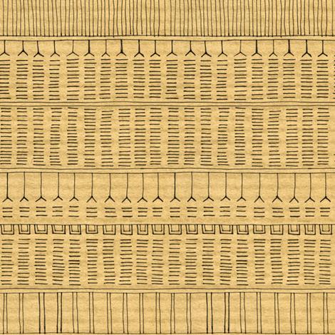 Inuit Tattoo on brown stripe fabric by crumpetsandcrabsticks on Spoonflower - custom fabric