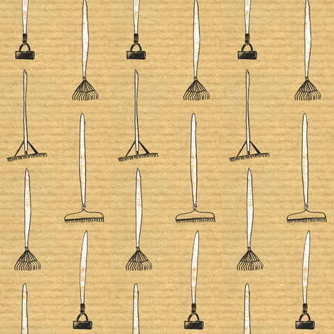 Rakes & Hoes on brown stripe fabric by crumpetsandcrabsticks on Spoonflower - custom fabric