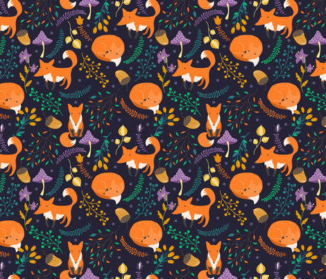 Foxes fabric by juliabadeeva on Spoonflower - custom fabric