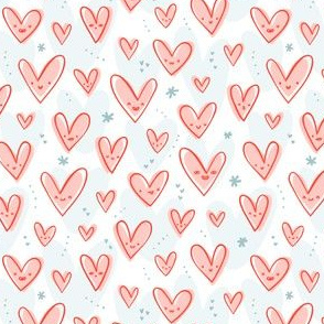 Happy pink hearts pattern