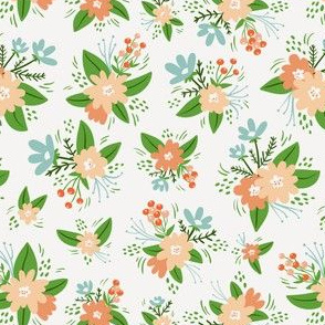 Vintage floral compositions seamless pattern