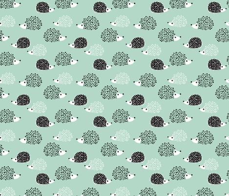 Scandinavian sweet hedgehog illustration for kids gender neutral black and white mint fabric by littlesmilemakers on Spoonflower - custom fabric