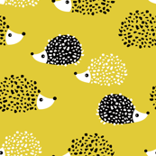Scandinavian sweet hedgehog illustration for kids gender neutral spring black and white yellow