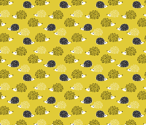 Scandinavian sweet hedgehog illustration for kids gender neutral spring black and white yellow fabric by littlesmilemakers on Spoonflower - custom fabric