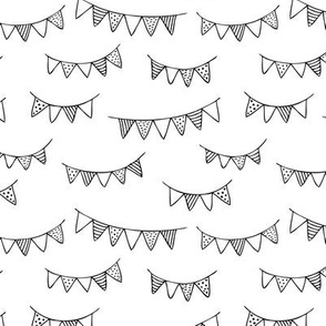 Happy birthday party garland kids geometric scandinavian gender neutral black and white