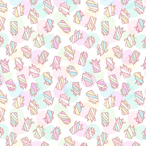 Marshmallow characters pattern on abstract background fabric by stolenpencil on Spoonflower - custom fabric